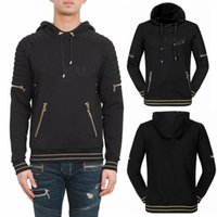 Wholesale Ribbed Belts - S-3XL Men Hooded Cotton Sweater Top Drawstring Hood Zip Details Ribbed Trims Hooded Casual Pullover Jogging Jumper