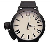 große runde uhren für männer großhandel-Die Sportuhr der HEISSEN Qualitätsmänner große Vorwahlknopf-klassisches Boots-runder Chronograph-automatische mechanische Selbstwind-linker Haken-Hand-U-Uhren