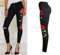 Wholesale 2xl Jeans For Female - 2017 Women's Vintage Embroider Flowers Rose Jeans Sexy Ripped Pencil Stretch Denim Pants Female Slim Skinny Trousers Elastic Jeans For Fema