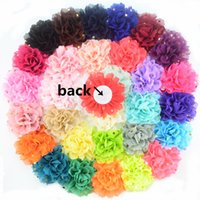 Wholesale Dotted Flower Headband - 2017 New Coming 4 inch Chiffon Flower Golden Dot Chiffon Flower For Girl Headwear 32 color 100pcs lot