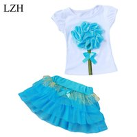 Wholesale Tulle Skirt Large - Wholesale- 2017 New Summer Style Girls Clothes Set Large Flower Baby Girls T-shirt +Tulle Tutu Skirt Suit Cute Party Kids Children Clothing