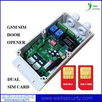 gsm control remoto tarjeta sim al por mayor-Al por mayor- Controlador remoto GSM, Controlador de apertura de puerta GSM, Sistema de control de acceso de puerta de puerta GSM Puerta doble tarjeta SIM