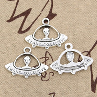 yabancı gümüş kolye toptan satış-Toptan-10 adet Charms alien ET inanıyorum uzay gemisi 30 * 21mm Antik kolye fit, Vintage Tibet Gümüş, DIY için bilezik kolye
