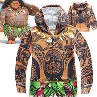 Wholesale Cartoon Tees For Kids - Kids Boys Moana Maui Tattoo Cosplay Hooded Sweatshirt Halloween Cartoon Hoodies Costumes Zipper Jacket Coat Outerwear Top Tees for Age 4-10T