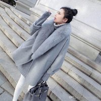 Wholesale Type Fur Coats - Fashion Korean version of the large cocoon-type cape Gray Fur coat it in the long section of the winter coat Wool & Blends free shipping