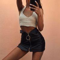 Wholesale New Skirts Denim Fashion - 2017 New Girl Black PU Leather Skirt Ring Metal Zipper Package Hip Miniskirt Sexy Bodycon Slim Split Pencil Dress Clubwear Female
