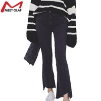 Wholesale Korea Skinny Pants - Wholesale- Fashion 2016 Spring New Thin Flare Jeans Pants Slim Denim Ankle Length Pants Irregular Edges Trousers Korea Style YL355