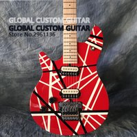 Wholesale Electric Guitar White Maple Neck - High quality left hand 6 string electric guitar Red and white line maple guitar neck Real photos Some countries free shipping