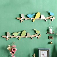 Wholesale Wholesale Wooden Clothes Hangers - Wooden Clothes Hanger Hooks Coat Hangers Wood Wall Decor Birds Wall Hanger Coat Hooks Wall Decoration Craft Gifts