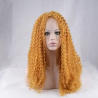 Cheap 16-26 Inch Orange Color Long Curly Sintético Lace Front Wig Glueless de alta qualidade resistente ao calor Fibra para Black White Women