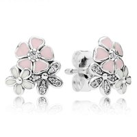 Wholesale New Sterling Silver Earring Mix Enamel Poetic Blooms With Crystal Stud Earrings Compatible With Pandora Jewelry HK3D15