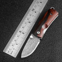 Wholesale Wood Key Handle - Mini Damascus pocket knife wood handle folding knife outdoor portable camping tactical survival knives utility key knife EDC