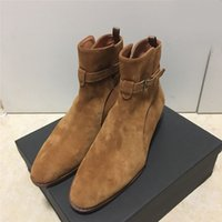 Wholesale New Fashion Man Slp Suede Wyatt Jodhpur Ankle Boots Genuine Leather Classic Sl Shoes