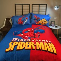 Wholesale 4pcs Cotton Spiderman d bedding set bed sheets Sets bedding luxury bedding Hero theme Hotel bed linen bed sheets duvet linen covers