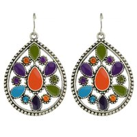 Wholesale Long Earrings For Women Cheap - New Fashion Cheap Silver Plated Alloy Colorful Enamel Long Drop Earrings for Women