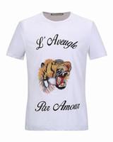 Wholesale T Shirt Plus Size Tiger - High Quality Fashion T-Shirt Print Tiger Embroidery Design Summer Men O-neck Short Sleeve T Shirts Brand Tees Plus Size M-XXXL