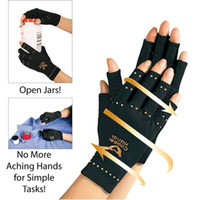 Wholesale Bowling Gloves - Arthritis Compression Gloves Copper Hands Gloves Women Men Health Care Half Finger Ache Pain Rheumatoid Therapy Sports Gloves