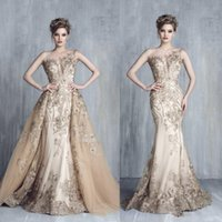Wholesale Lace Crystal Mermaid Prom Dresses - Tony Chaaya 3D Floral Mermaid Evening Dresses with Detachable Train 2017 Champagne Lace Crystal Dubai Arabic Occasion Prom Gowns