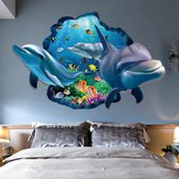 ingrosso visualizzazione delle finestre 3d-PVC Dolphin Sea Scenes Window View Rimovibile Wall Sticker 3D Through Wall Decor Casa Camera da letto Soggiorno Decorazione Accessori