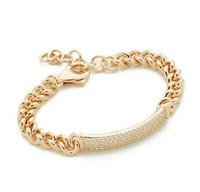 Wholesale Diamond Tennis Charms - Gold White Gold Plated jewelry Link Tennis Bangles Charms Bracelets For Women Vintage Brand Classic Diamond Fashion Girl Charm Bracelet