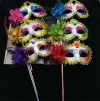 ingrosso maschere di mascheratura disegnate-Nuovo 30pcs veneziano mezza faccia fiore maschera Masquerade Party colorato disegno Sexy Halloween natale ballo di nozze Maschera partito I050