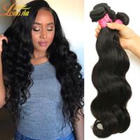 Wholesale brazilian unprocess - Factory Human Hair Weave Bundles Extension Brazilian Body Wave Hair Unprocess Natural Color Human Hair Body Wave Machine Double Weft