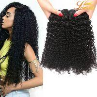 moğol insan saçı inç toptan satış-7A Malezya Kinky Kıvırcık Bakire Saç 3 4 Demetleri Hint Brezilyalı Hint Moğol Kinky Kıvırcık Saç Işlenmemiş Kıvırcık Örgü İnsan Saç