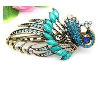 Wholesale Crystal Hair Accessories Peacocks - Bohemian Rhinestone Hair Clips Lovely Vintage Jewelry Crystal Green Peacock Hair Clips Hair Accessories for Women Wedding Accessory