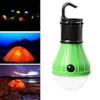 Wholesale Camping Tent Lighting - Wholesale- Portable Battery Powered Outdoor Hanging LED Camping Tent Light Bulb Fishing Lantern Lamp Lamparas 100 Lumens 3 LEDs lights