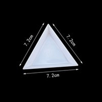 Wholesale Bead Sorting Trays - 50Pcs Triangle Plastic Rhinestones Beads Crystal Nail Art Sorting Trays Accessory White