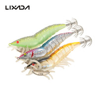 Wholesale Weighted Jig Hooks - 3PCS 12cm 21g Fishing Lure Prawn Squid Bait Hard Artificial Fishing Set with Squid Jigs Hook Lead Weighted Noctilucent Shrimp