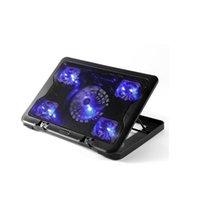 refrigeração portátil venda por atacado-12-15.6 polegada laptop Cooling Pad Laptop cooler Ventilador USB com 5 Ventiladores de refrigeração Luz Notebook Stand e Quiet Fixture for laptop