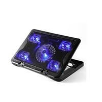 fan stand para laptop al por mayor-12-15.6 pulgadas laptop Cooling Pad Cooler USB Fan con 5 Ventiladores de refrigeración Light Notebook Stand y Quiet Fixture para laptop