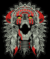 "Wholesale Chief Skull - Free Shipping LARGE HORNED CHIEF DEATH SKULL INDIAN MOTORCYCLE BIKER BACK PATCH 11"" MC RIDER Vest Patch"