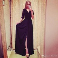 Wholesale Dreses Women - Women Long Evening Formal Party Dress Fashion Sexy Sleeve Split Women Beach dreses Free Shipping