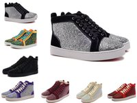 Wholesale White Mens Leather Pointed Shoes - Rhinestone Mens & Womens Casual Shoes Unisex Red Bottom Multi Color high top Luxury Brand Flats Sneaker Fashion Design Summer Autum shoes