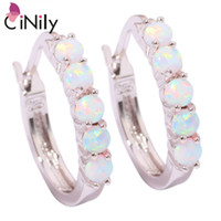 Wholesale fire opal earrings gold - Wholesale- CiNily Created White Fire Opal Silver Plated Earrings Wholesale Hot Sell Fashion for Women Jewelry Hoop Earrings 20mm OH3464