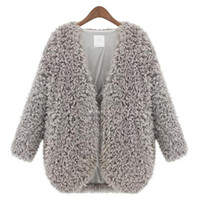 Wholesale Vintage Lamb Coat - Wholesale- 2015 Autumn Winter Newest Female Lambs Wool Coat Shawl Fashion Womens Capes And Ponchoes Ladies Vintage Warm Costs