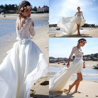 Wholesale Simple Floral Chiffon Sheath - 2017 New Sexy 1 2 Long Sleeves Chiffon High Low Wedding Dresses V Neck Lace Top Beach Bridal Gowns BA6316