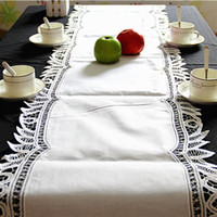 Wholesale White Tablecloth Runner - Lace Table Runner Embroidery Tablecloth Spreads Wedding Party Home Decoration High Grade Pure Cotton