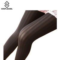 Wholesale Tights Women Velvet Stripe - Wholesale- [COSPLACOOL]2016 Autumn Winter Necessary Thick Velvet Tights Women Sexy Pantyhose Stripe Leg Warm Beautiful leg