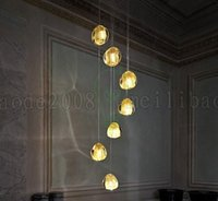 Wholesale Round Glass Lighting Pendants - BE59 1 3 5 9 15 20 26 30-Lights Noble Clear Crystal Glass Sphere Ball Mizu Pendant Lamps Round Staircase Villas Lobby Chandeliers Lighting
