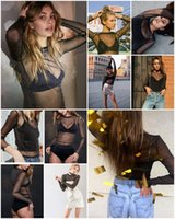 Wholesale Sheer Chemise See Through - Black blouse shirt women tops Long sleeve mesh blouses feminina Transparent cool blouse chemise femme blusas Lace See-through Crop Sexy top
