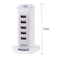 cargador de toma de corriente usb lg al por mayor-5 puertos USB Cargador de pared 5V 6A 30W Energía EE. UU. Enchufe de la UE Toma de corriente de CA Adaptador de escritorio Universal para iPhone iPad para Samsung S7 Edge HTC LG