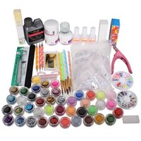 Wholesale Tattoo Kits Powder - tool tattoos New Arrived Nail Art Set Acrylic Liquid Glitter Powder File Brush Form Nail Art Tips Tools DIY Kit Primer Beauty Tools