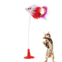 Wholesale false bottom - Funny Pet Feather False Mouse Bottom Sucker Cat Kitten Playing Scratch Toy Lot