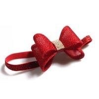 Wholesale Handmade Girls Accessories - Wholesale- Retail Red Newborn Luxury Flower Bows Matching Glitter Headband Handmade Hard Bow Headbands For Baby Girls Hair Accessories