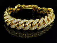 Mens Solid 14K Yellow Gold Miami Cuban Link 15 MM VS Diamond Bracelet 10.5 ct
