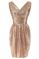 Wholesale Evening Dress Knee Length Sequined - 2017 In Stock V-Neck Short Evening Dresses Knee-length Sequin Lace Formal Evening Gowns Vestido De Noche Party Dresses