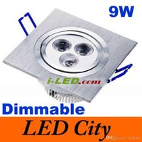 Wholesale Led 9w Lm - Dimmable Led Downlight 9W 3*3W Square Led Down Light Recessed Lamp 600 LM Warm White 3000K 120 Angle Led Fixture high power